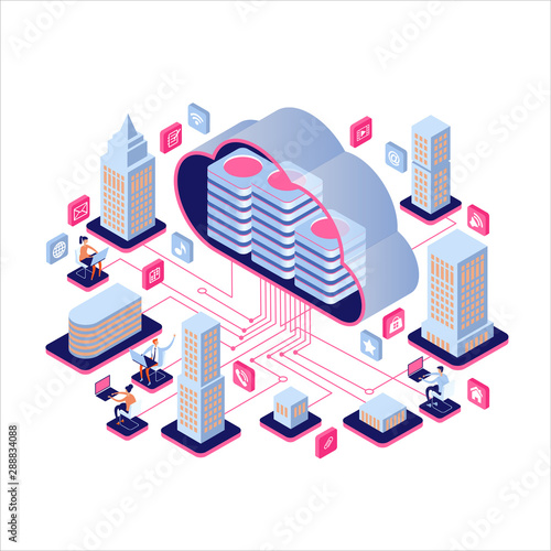 Fotomural Smart city or intelligent building isometric vector concept