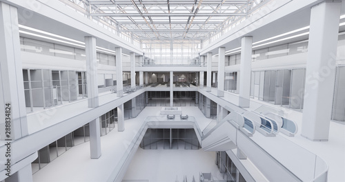 Fotografia Concept visualization empty public space of a large shopping mall