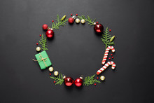 Flat Lay Composition With Christmas Decorations On Dark Background, Space For Text