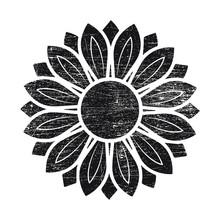 Grunge Sunflower Vector Illust...