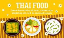 Thai Food Concept Banner. Flat Illustration Of Thai Food Vector Concept Banner For Web Design