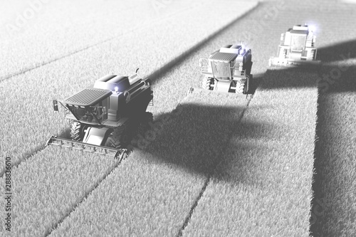 Industrial 3D illustration of big rye combine harvesters on field rendered in wh Canvas Print