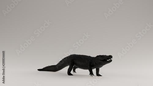 Photo  Black Crocodile 3 Quarter Right View 3d Illustration 3d render