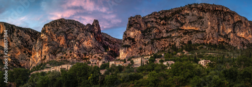 Canvas Prints Deep brown Moustiers Sainte Marie sunset panorama