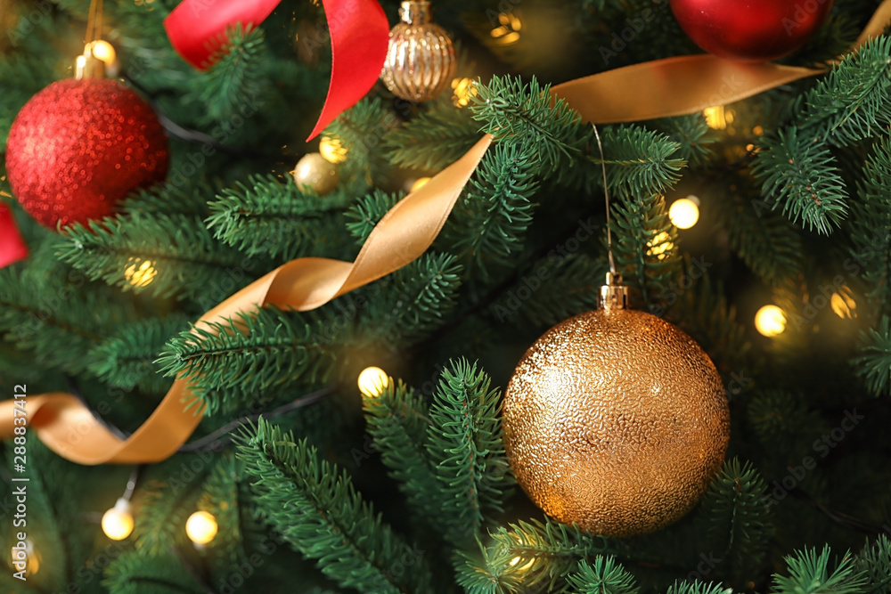Fototapety, obrazy: Beautiful Christmas tree with decor as background