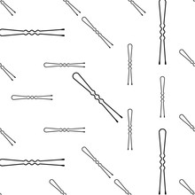 Hair Pin Icon Seamless Pattern...