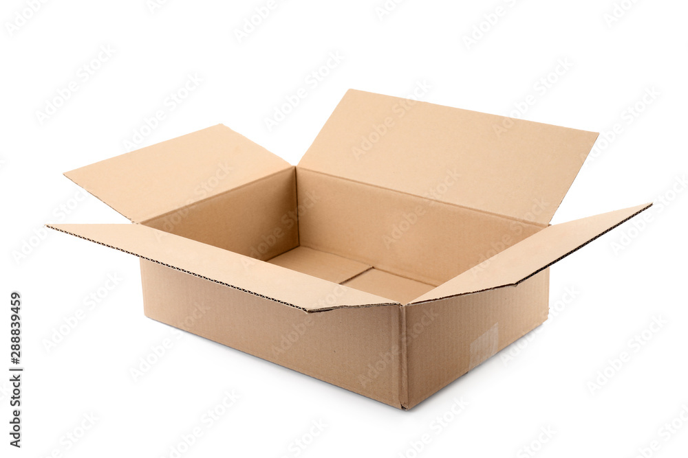 Fototapety, obrazy: Open cardboard box on white background. Mockup for design