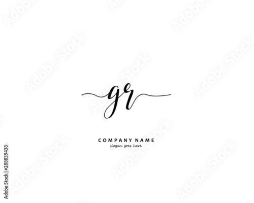 GR Initial letter logo template vector Wallpaper Mural