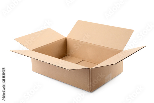 Tuinposter Europa Open cardboard box on white background. Mockup for design
