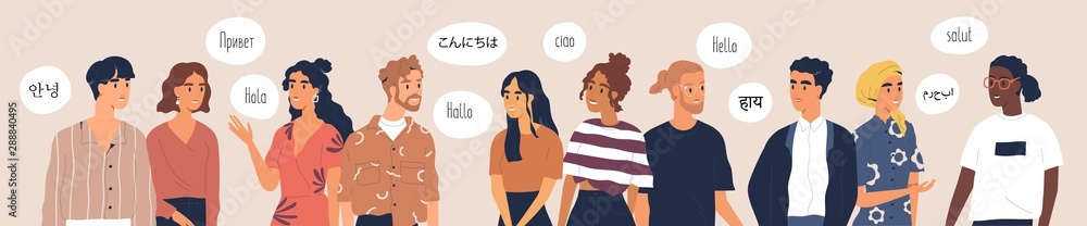 Fototapeta Multilingual greeting flat vector illustration. Hello in different languages. Diverse cultures, international communication concept. Native speakers, friendly men and women cartoon characters.