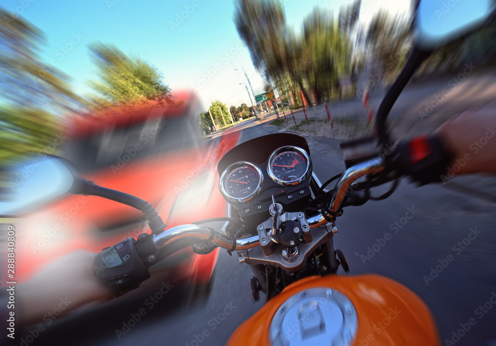 Photo accident and frontal collision of a car with a motorcycle