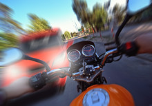 Accident And Frontal Collision Of A Car With A Motorcycle