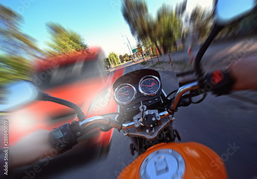 accident and frontal collision of a car with a motorcycle Canvas Print