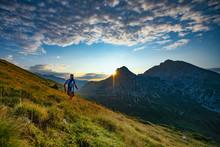 Skyrunner Runner Runs In The Mountains As The Sun Rises