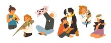 Children With Pets Flat Vector...