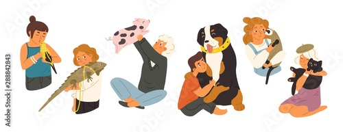 Photo Children with pets flat vector illustrations set