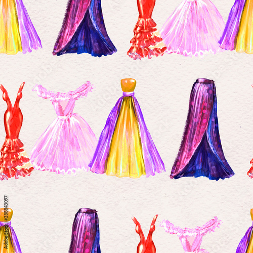 Obraz na plátně  Fashion seamless pattern. Watercolor hand drawn background