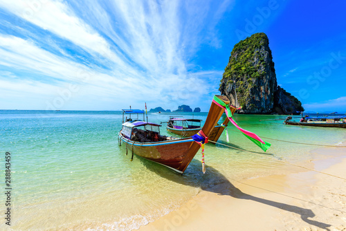 Fototapeta  Ao Phra Nang Beach - Thai traditional wooden longtail boat on Railay Peninsula i