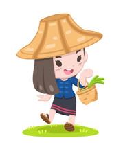 Cute Thai Farmer Woman Walking...