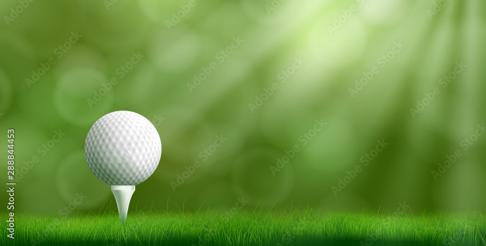 Fototapety, obrazy: Golf ball resting on tee pushed into ground, cowered thick lawn grass, blurred with bokeh sunbeams on background 3d realistic vector illustration. Golf tournament ad banner template with copyspace