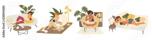 Cuadros en Lienzo Breast feeding flat vector illustrations set