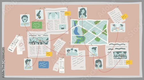 Fotografía  Crime research board flat vector illustration