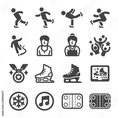 ice skate sport and recreation icon set,vector and illustration Obraz na płótnie