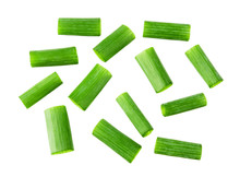 Green Onion Isolated. Heap Of Cut Chives. Top View.