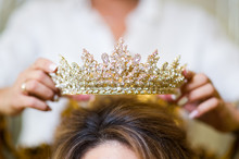 Girl Puts Crown Jewelry On The Bride S Head. Close Up