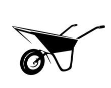 Empty Garden Cart  - Wheelbarrow Tool Black And White Vector Outline