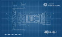 Jet Engine Of Airplane In Outline Style. Industrial Aerospase Blueprint. Drawing Of Plane Motor. Part Of Aircraft. Side View