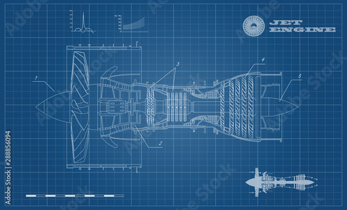 Jet engine of airplane in outline style Wallpaper Mural