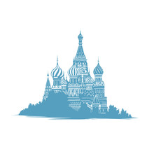 Hand Drawn Sketch Style Illustration Of Saint Basils Cathedral In Moscow, Russia. Russian Landmarks. Orthodox Curch. Mono Color Silhouette In Blue On White Background.