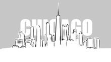 Chicago Skylinie Vector Sketch