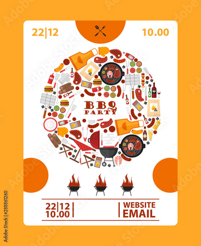 Fototapeta Bbq Party Announcement Banner Vector Illustration Barbeque Icons In Round Frame Composition Cookout Barbeque Event Advertisement