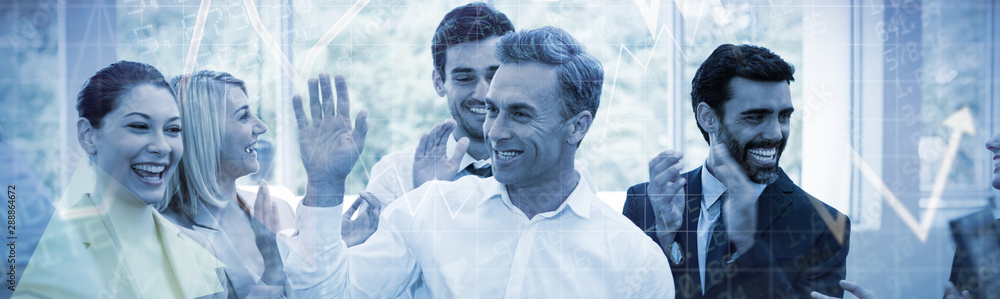 Fototapeta Composite image of stocks and shares