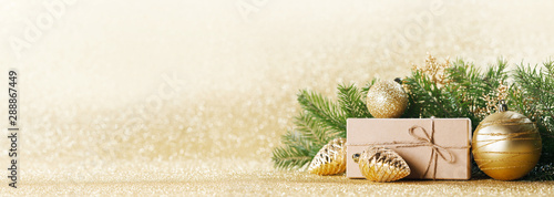 Photo sur Toile Pierre, Sable Christmas gift box and decor