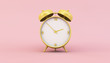 Leinwanddruck Bild - yellow retro clock on pink background