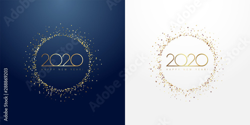 2020 in golden sparkling ring with dust glitter graphic on dark blue and white background Fototapete