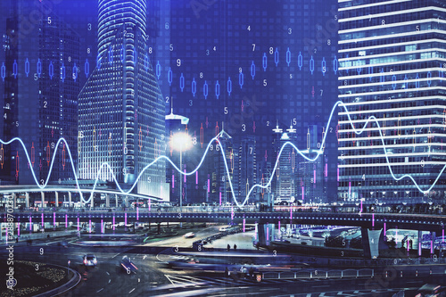 Foto auf AluDibond Shanghai Financial chart on city scape with tall buildings background multi exposure. Analysis concept.