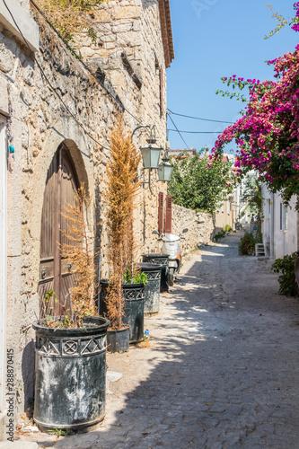Narrow street with stone houses Fototapete