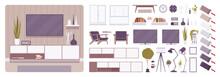 TV Cabinet Interior And Televi...