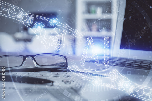 Data tech hologram with glasses on the table background. Concept of technology. Double exposure. - 288871430