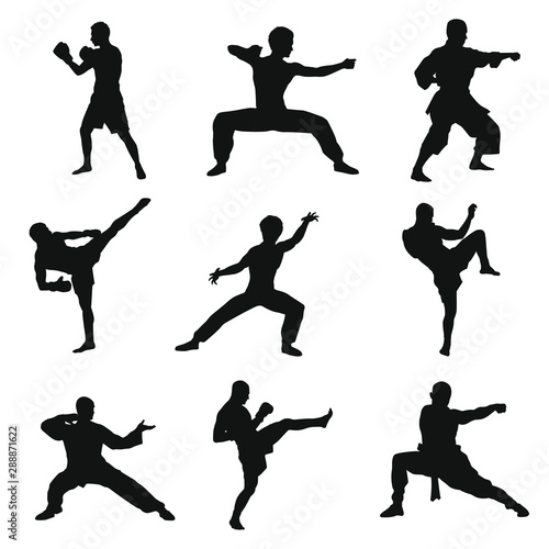Martial Arts Silhouettes Pack Wallpaper Mural
