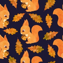 Seamless Autumn Pattern With Cute Watercolor Squirrels And Oak Leaves.