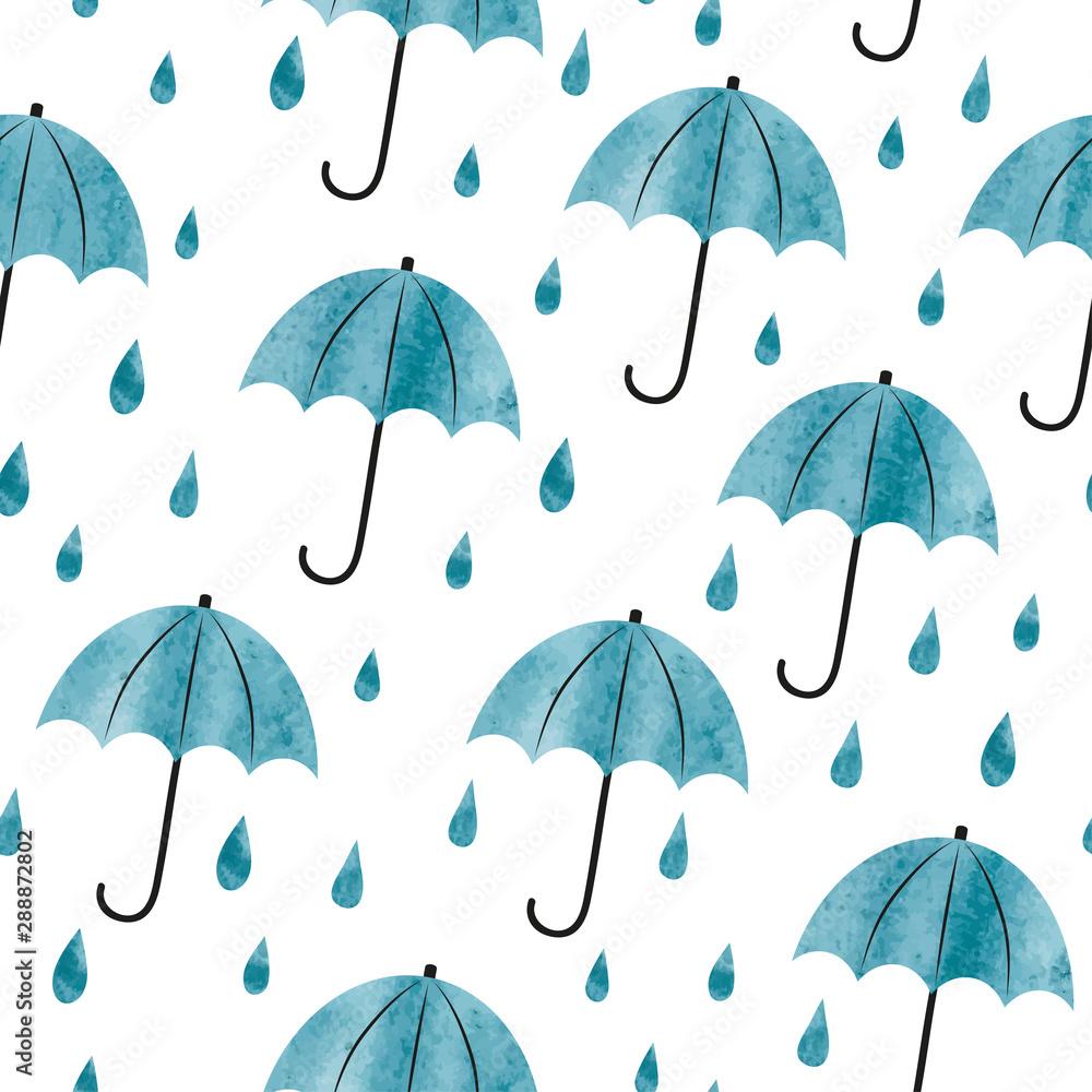 Fototapeta Seamless watercolor umbrellas and rain drops pattern. Autumn background.