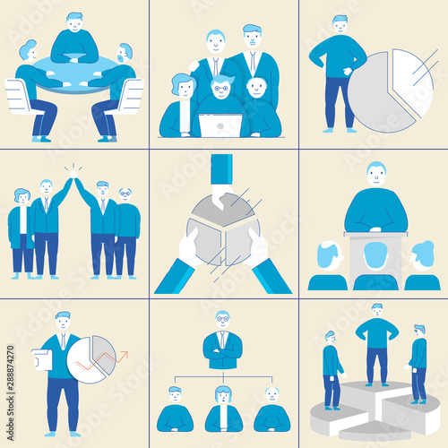 Photo Vector set of linear flat symbols related to team work, relationship and human r