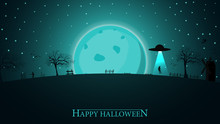 Halloween Background. Halloween Night Landscape With Big Blue Moon And Alien Ship
