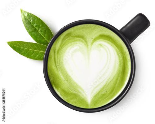 Cup of green tea matcha latte Fototapeta