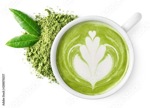 Cup of green tea matcha latte Tableau sur Toile